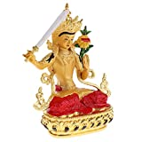 Kesoto 菩薩像 文殊菩萨 チベット 仏像 合金 小さな像 車 家 装飾