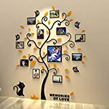 Unitendo 3D Acrylic Black Tree Wall Stickers Photo Frames Family Tree Wall Decal Easy to Install &Apply DIY Photo Gallery Fra