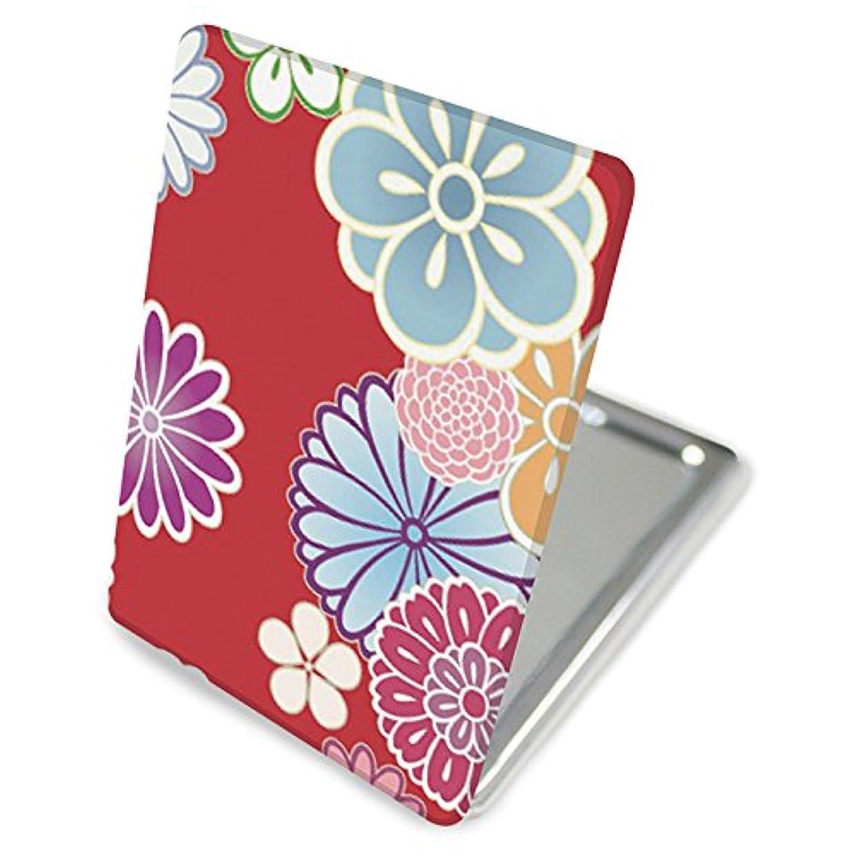 シャツベンチそんなに(カリーナ) Carine 手鏡 コンパクトミラー ハンドミラー 拡大鏡付 持ち歩きに便利 かわいい kgm014(C) 花柄 フラワー デザイン 和柄 和風 和花