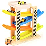 Toys of Wood Oxford Wooden Car Park Zig Zag Car Slide with 4 Cars & Roof Top Car Park Play Sets - Wooden Toys for 1 Year Old