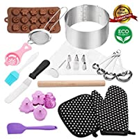 38pcs baking and pastry tools Professional cake ring 15cm - 30cm mould cake pops kit cake decorating kit biscuit cutter set Stainless Steel for adult