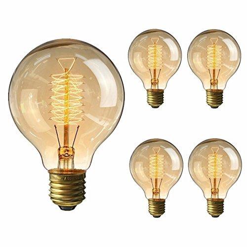 円形エジソン電球 60W KINGSO 4個入 E26 110v G80-64アンカー ヴィンテージ ホーム照明器具装飾用 琥珀色
