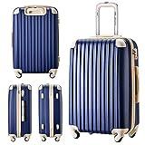 [トラベルハウス] Travelhouse スーツケース 超軽量 TSAロック搭載 ABS 半鏡面仕上げ4輪 ファスナータイプ 【一年安心保証】(SS, ネイビー+ベージュ) 画像