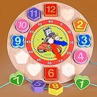 HuaQingPiJu-JP 素敵な教育木製時計玩具アーリーラーニングタイムナンバーシェイプ子供のための色の動物の認知のおもちゃ(シマウマ)