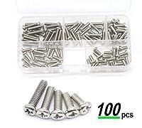 CseaO 100個m4パンヘッドマシンネジ詰め合わせキット、304ステンレス鋼、m4X 8mm/10mm/12mm/14mm/16mm
