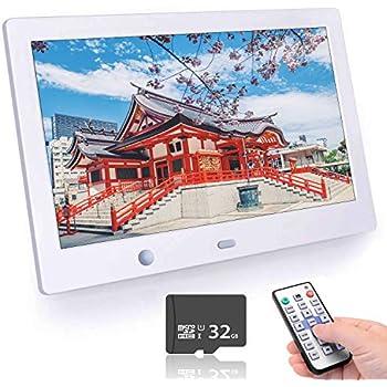 2019新しい10.1インチ デジタルフォトフレーム 1280*800解像度 高解像度LEDバックライト液晶/写真/音楽再生多機能リモコン記憶機能 多機能 自動再生 リモコン付き 人感センサー付き 良いギフト1年間保証 (ホワイト)
