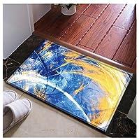 QFF ホームフロアマット、パーソナリティプリントパターン抽象的な色の小さなカーペットのベッドルームホテルのリビングルームのキッチン滑り止めの厚さ1CM 耐摩耗性 (Color : B, Size : 50*80CM)
