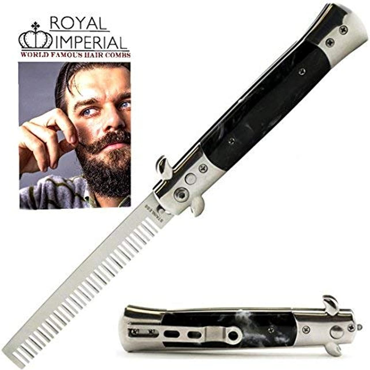 Royal Imperial Metal Switchblade Pocket Folding Flick Hair Comb For Beard, Mustache, Head Black Pearl Handle ~...