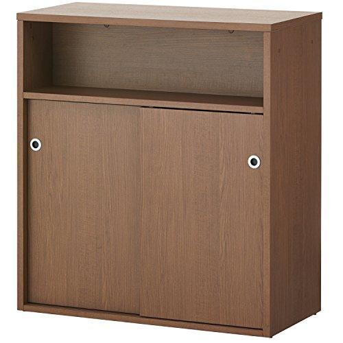 届け先法人限定 オフィスコム 木製 ハイカウンター 受付カウンター 引き違い扉付き 幅900×奥行450×高さ1000mm セルボ ダークブラウン