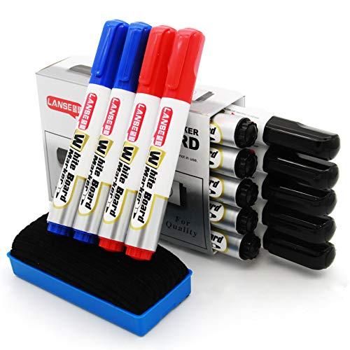 マーカー 、水性 インク速乾マーカーペン 、中字 丸芯 、14本入 3色 、防水、無毒、低臭気、消しやすい、線幅2mm 附赠 黒板消し