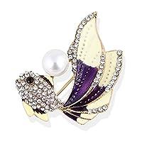 bb44589105df27 Cikuso 女性用の金魚ブローチエナメルアニマルブローチピンファッションジュエリー サマースタイルドレスアクセサリー 贈り物パープル&カラフル