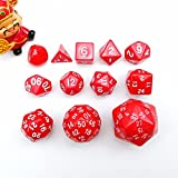 Complete Polyhedral Dice Set of 12pcs D3-D60 60 Sides RPG Dice Set Opaque Red D3 D4 D6 D8 D10 D% D12 D20 D24 D30 D50 D60