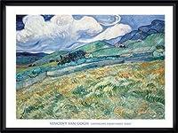 ポスター フィンセント ファン ゴッホ Landscape from Saint-Remy 1889 額装品 ウッドハイグレードフレーム(ブラック)