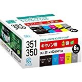 エコリカ リサイクルインクカートリッジ CANON BCI-351+350/6MPリサイクルインク6色セット ECI-C351-6P