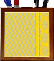 Rikki Knight Damask Hounds tooth Black Yellow Design 5-Inch Tile Wooden Tile Pen Holder (RK-PH44667) [並行輸入品]