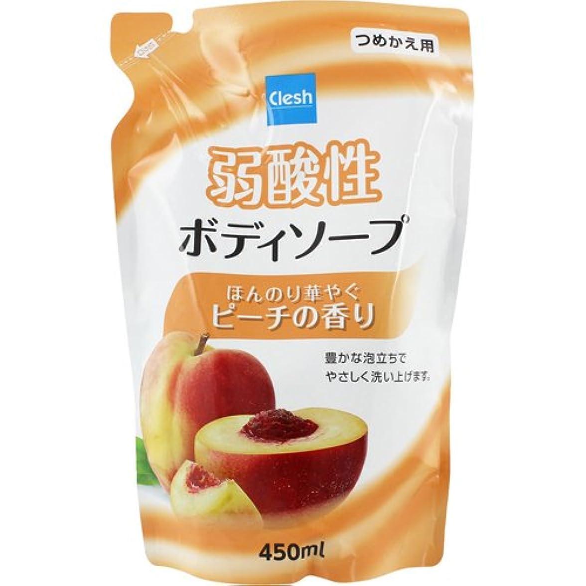 九時四十五分変動する鮮やかなClesh(クレシュ) 弱酸性ボディソープ ピーチの香り つめかえ用 450ml