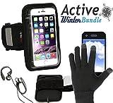 Navitech London スマートフォン用ランニングアームバンド&スマホー手袋 (iPhone 5 / 5c / 5s/ Sony Xperia Z3 Compact/ Samsung Galaxy S4 Mini) (黒手袋セット)