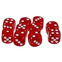 Lovoski 10個セット アクリル ボートゲーム用 おもちゃ 六面ダイス D6 ダイス サイコロ 10色選べる - 赤