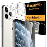[4 Pack] UniqueMe 2 Pack Tempered Glass Screen Protector +2 Pack Tempered Glass Camera Lens Protector 9H Hardness for iPhone 11 Pro Max(6.5 inch)