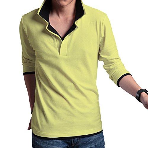 (エフバイフォー) F×4 メンズ 長袖 レイヤード 風 ゴルフ ポロ シャツ FMT012 (ビビッドグリーン×ブラック XL)