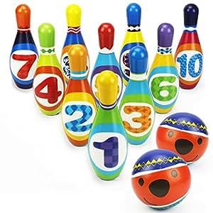 amazon kids bowling playセット safe foam bowlingボールおもちゃ