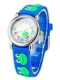 腕時計 こども用 男の子 キッズ 入園式 幼児 こどもウォッチ 入学祝い 小学生 アナログ カエル柄 入学 卒業祝い 運動会 誕生日のギフト プレゼント ブルー