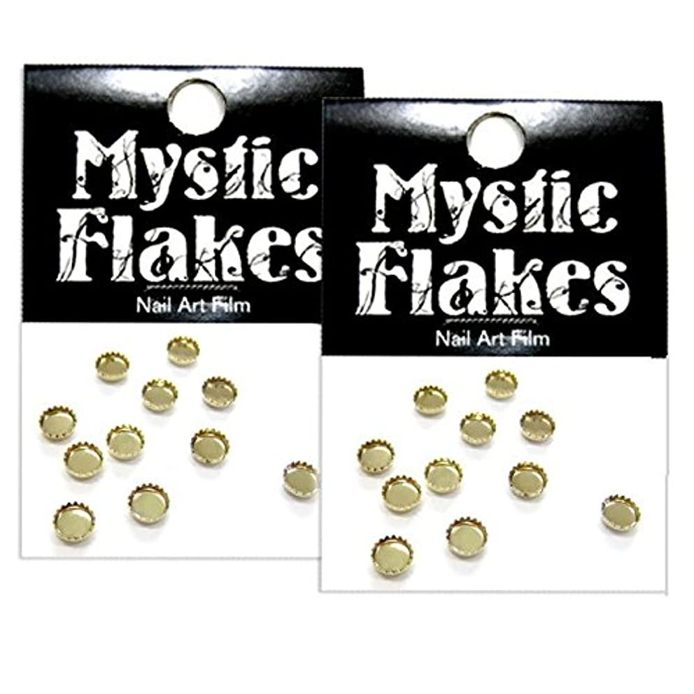 マークダウン生きる考案するミスティックフレース ネイル用ストーン ストーンディッシュ サークル ゴールド 3mm 10P 2個セット