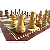Chess Set - American Staunton with leatherette chess board-Standard size,weighed