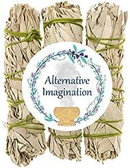 プレミアムカリフォルニアホワイトセージ4インチSmudge Sticks。Alternative想像力ブランド。 3 Pack FBA_COMINHKG064035
