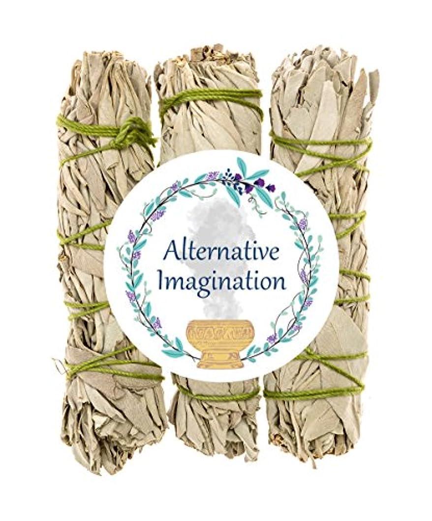 寝室を掃除するストリップ想起プレミアムカリフォルニアホワイトセージ4インチSmudge Sticks。Alternative想像力ブランド。 3 Pack FBA_COMINHKG064035