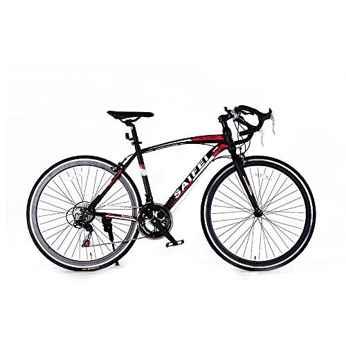 ロードバイク スポーツバイク 700C シマノ14段変速 超軽量高炭素鋼フレーム ライトのプレゼント付き ドロップハンドル 自転車 PL保険加入 ブラック SF-01BK