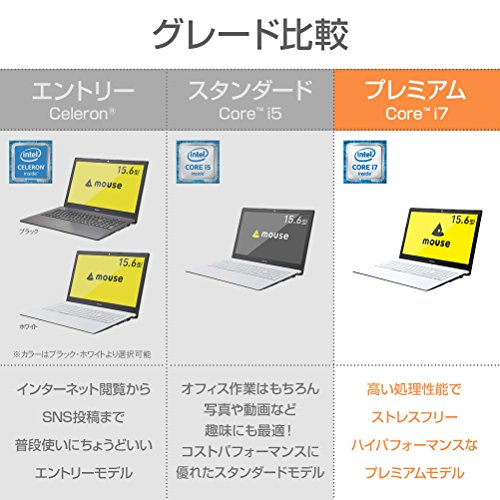 『mouse ノートパソコン MB-BN25I782S-ZN Windows 10/Corei7/15.6インチ/SSD240GB/8GBメモリ』の2枚目の画像