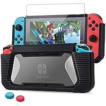 Nintendo Switch カバー ニンテンドースイッチ ケース+ガラスフィルム+親指キャップ TPU+PC製 全面保護 傷つけ防止 耐衝撃 (ブラック)