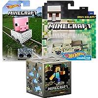 Minecraft Hot Wheels Iron GolemピックアップトラックCharacter車+ Minecart ride-onキューブボックス車+ Minecraftシリーズ木製チェストブラインドボックスMystery Mini Figure