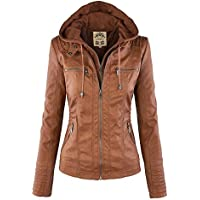 Made By Johnny MBJ Womens Faux Leather Motorcycle Jacket with Hoodie