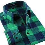 メンズ コットンチェックシャツ 長袖 カジュアル おしゃれ チェック柄ネルシャツ(グリーン-41)