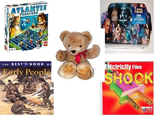 """Children's Gift Bundle - Ages 6-12 [5 Piece] - LEGO Atlantis Treasure Game - Star Wars Villains Collector Tin 500 Piece Puzzle - Eden Toys Teddy Bear Red Bow 18"""" - The Best Book of Early People Hard [並行輸入品]"""