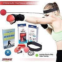 strikeguru Boxing Reflex Fightボール–Pro速度パンチトレーニング練習、フィットネス、MMA、Combat、スポーツFighting–with headband and gloves–Punchingトレーナー機器子供と大人