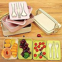 昼食小麦ベントボックス電子レンジフードボックス生分解性保存食品子供用コンパートメント付きランチボックス:ピンク、2
