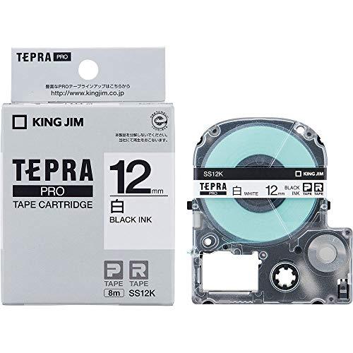テプラ PRO用テープカートリッジ 白ラベル SS12K [黒...