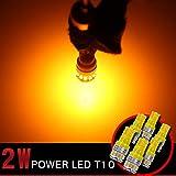 T10 LED ポジション球/ナンバー灯/ルームランプ/フットランプ/バックランプ ウェッジ球 18連SMD オレンジ 5500k 12v 24v対応 200lm 無極性ソケット爆光 6個入り