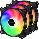 upHere Long Life 120mm 3-Pin High Airflow Quiet Edition Rainbow LED Case Fan for PC Cases, CPU Coolers, and Radiators 3-Pack,(PF120CF3-3)