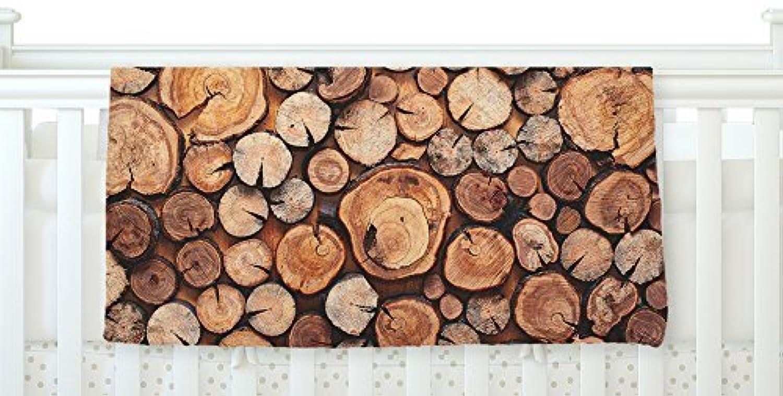 KESS InHouse Susan Sanders Rustic Wood Logs Brown Tan Fleece Baby Blanket 40 x 30 [並行輸入品]