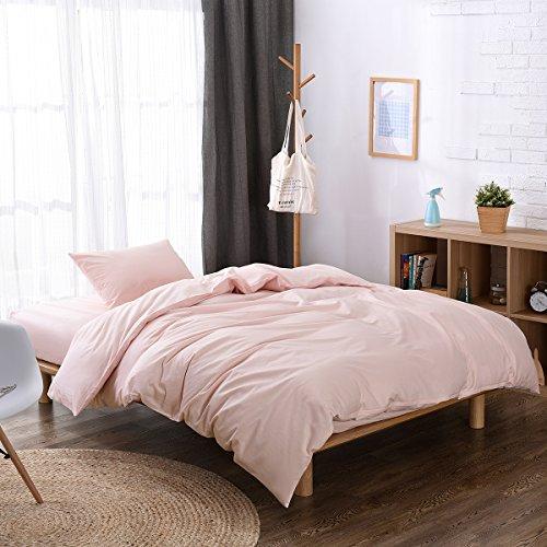 布団カバー ダブル 4点セット 綿100% 掛け布団カバー ボックスシーツ 枕カバー セット ベッドカバー(ダブル  ベッド用, ピンク)