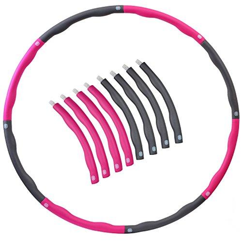 【N.M.JAPAN】 フラフープ 組み立て式 ダイエット シェイプアップ エクササイズ 折りたたみ 100cm 8本組 (ピンク)