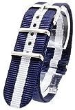 [2PiS] ベルト交換簡単 NATO 腕時計 時計 ナイロン 替えバンド 替えベルト 交換マニュアル付 ( マリーン ダブルネイビー・センターホワイト : 20mm ) 11-1-20