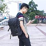 [Morpilot]リュック メンズ 多機能リュックサック スクエアリュック バックパック 大容量 全撥水加工 キャンバス リュック A4収納 多ポケット USBボード/RFID機能付き 15.6インチ PC ビジネスリュック 35L outdoor 通勤 修学 旅行 学生 バッグ 通気性 ブラック