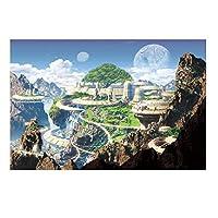 Queenie® ファンタジー 曲がりくねった道 山 街 城 民族 写真 1000ピース 木製ジグソーパズル 完成サイズ76x50cm / 30x20インチ