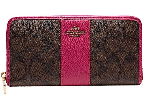 [해외](코치) COACH 지갑 아울렛 F52859 IME9T 시그니처 스트라이프 라운드 지퍼 지갑 브라운 | 크랜베리 ??[병행 수입품]/(Coach) COACH purse outlet F52859 IME 9T signature stripe round fastener long purse Brown | cranberry [parallel import goo...