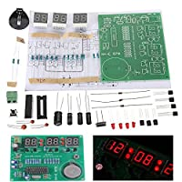 Prament 10ピース DIY 6 デジタル LED 電子時計キット 9v-12v AT89C2051